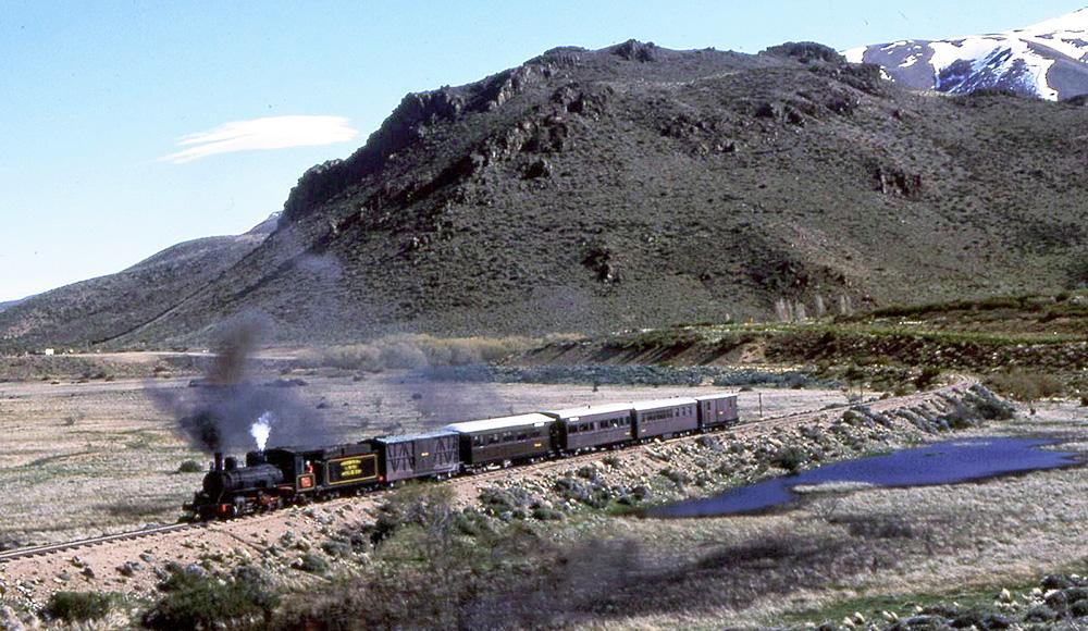 The Trochita steam train travelling along the Patagonian landscape near Esquel